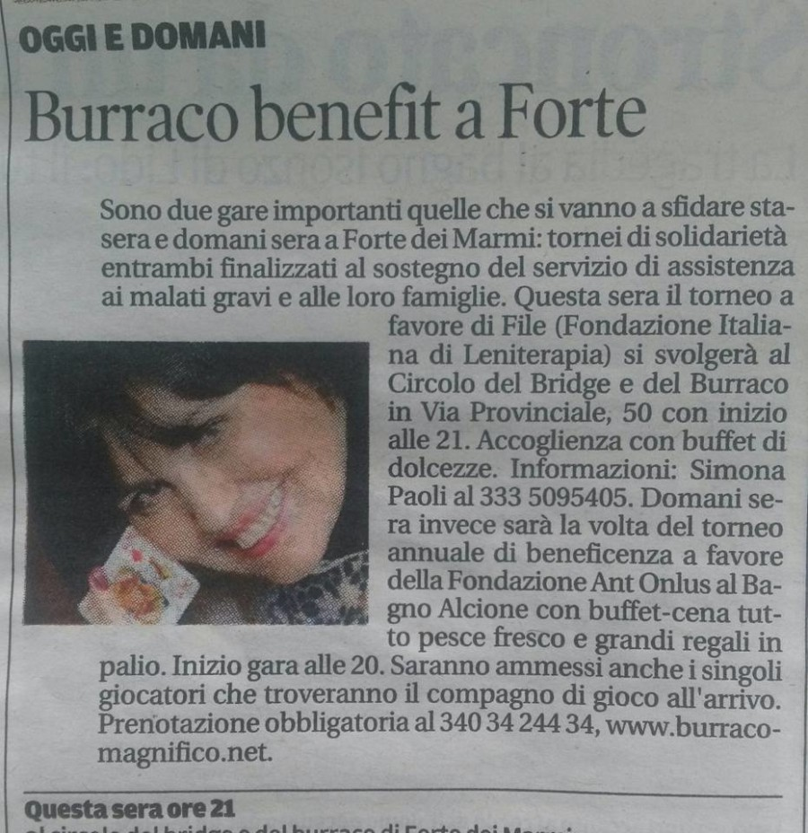 BURRACO BENEFIT il Tirreno Versilia