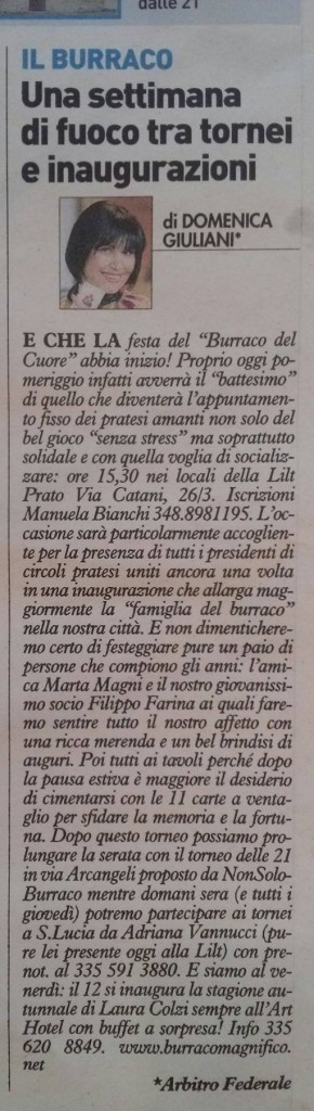 LA NAZIONE 10 SETTEMBRE 2014